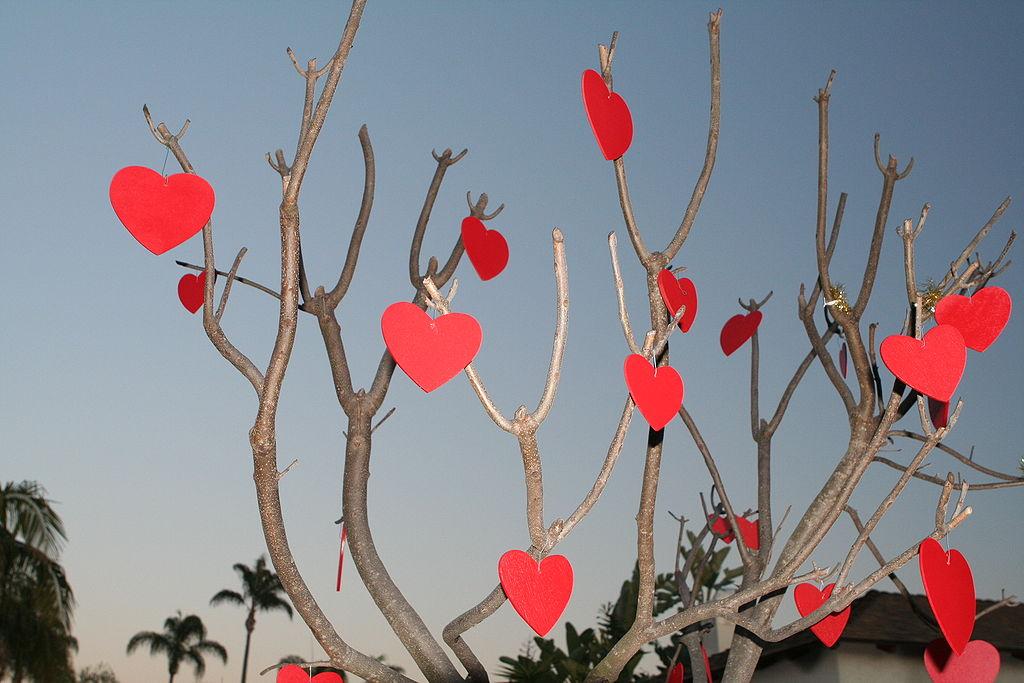 Baum mit Herz-Anhängern